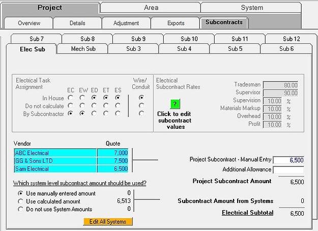 controls subcontracting setup