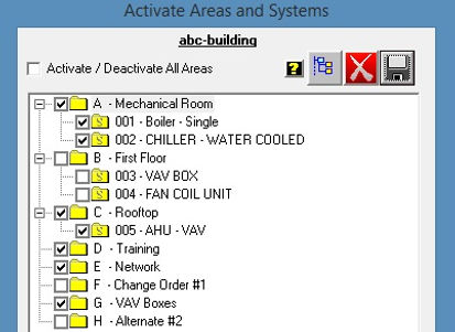 activate and inactive the controls equipment