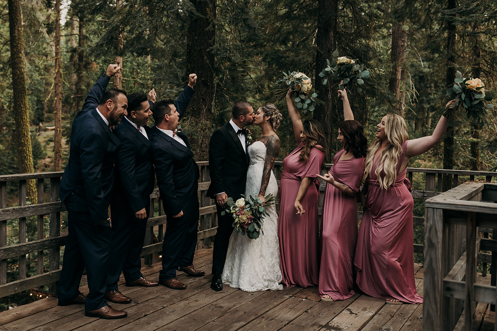 Pinecrest Chalet Intimate Redwood Forest Wedding | Boho couple with epic details and tattoos | Northern California