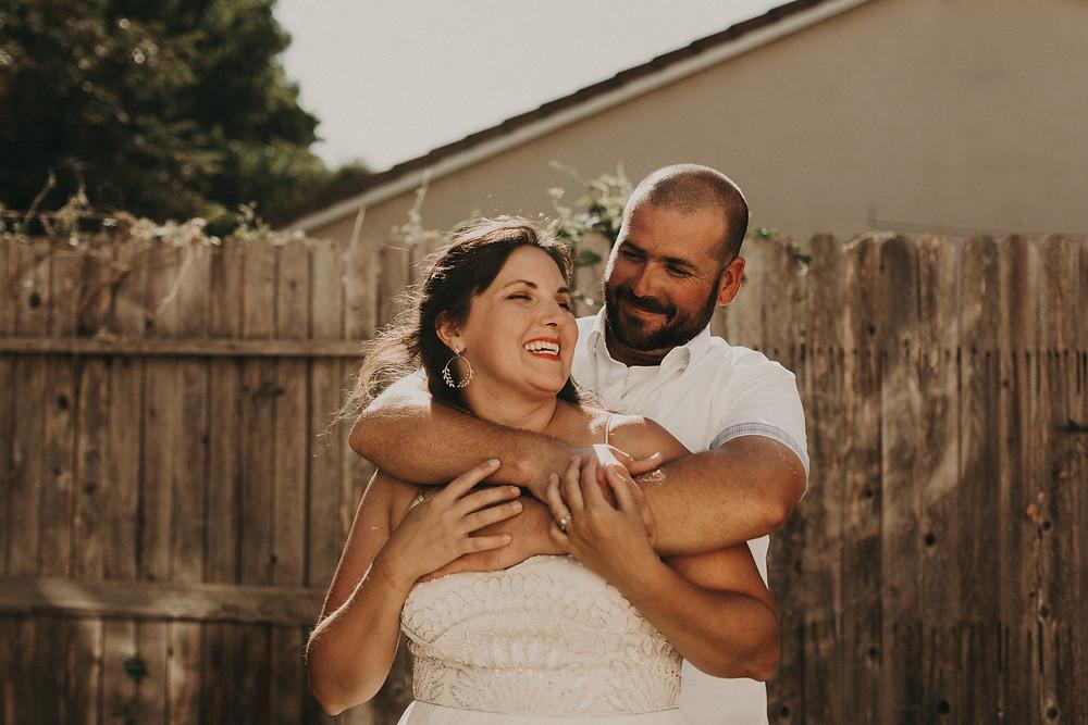 Bride and Groom Rustic Backyard Wedding Reception