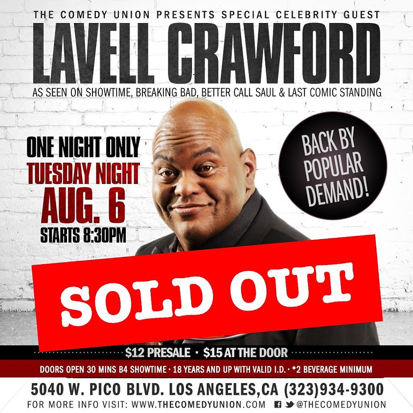 Lavell Crawford - ONE NIGHT ONLY 8:30PM