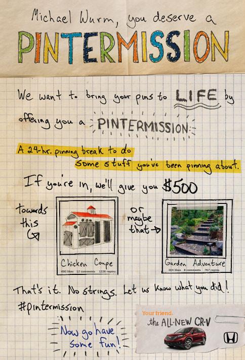 Pintermission Social Launch Campaign Honda