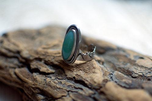 Crysoprase Mountain Band Ring Size 8.75