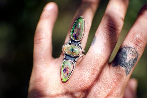 Monarch Opal Triple Stone Ring Size 6.5