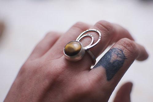 Tigers Eye Loop Ring Size 8