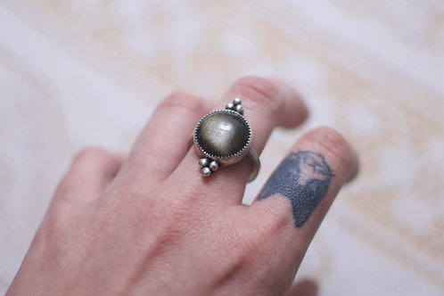 Gold Sheen Obsidian Ring Size 8.5