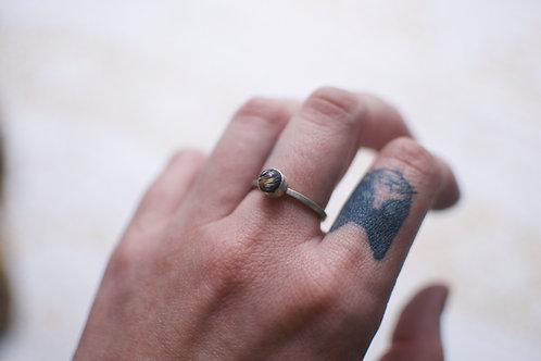 Lapis and Rutilated Quartz Ring Size 8