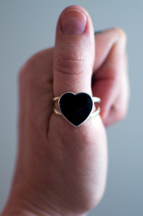 Black Heart Ring Size 9.5