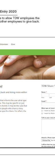 One TDW Employee Giving and Volunteer Dashboard