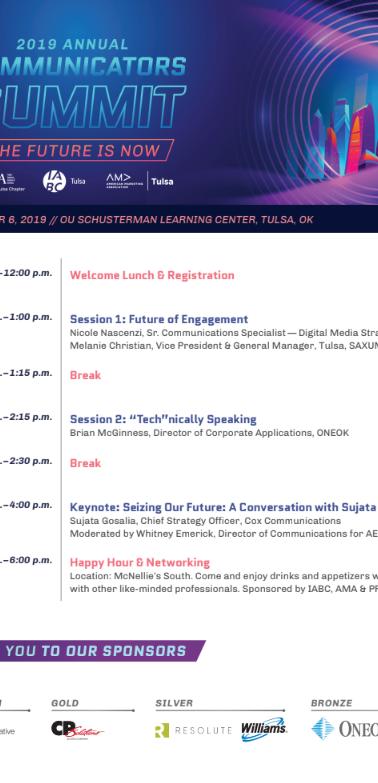 Agenda (page 1) - Communicators Summit 2019