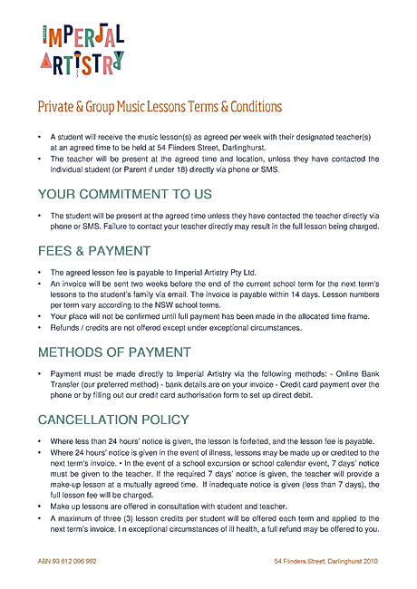 Lesson Terms & Conditions