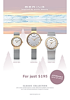 Bering Classic Collection from $195 print advertising and showcard