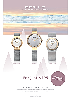 Bering Xmas print advertising and showcard
