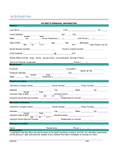 Sample Patient Information Form in 'brand signature'