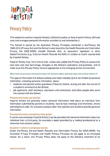 Imperial Artistry Privacy Policy