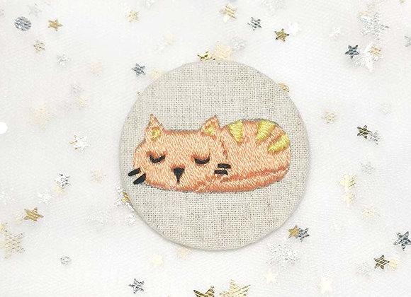 Embroidered Cat sleeping (Light orange)