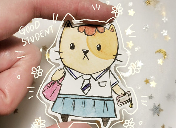 School Student Cat Sticker