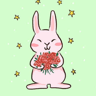 Rabbit holding bouquet of rose for valentine's day