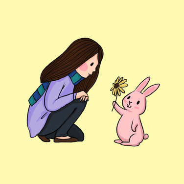 pink rabbit give sunflower to girl to cheer up