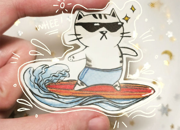 Surfer Cat Sticker