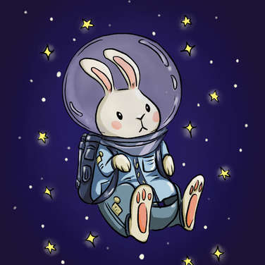 Astronaut rabbit in space