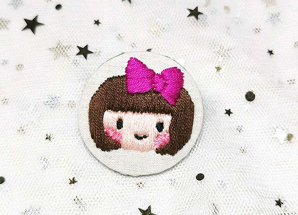 Embroidered Girl with Ribbon (Pink / Orange)
