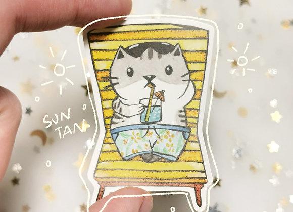 Suntanning Cat Sticker