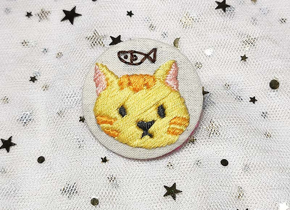 Embroidered Cat with Fish