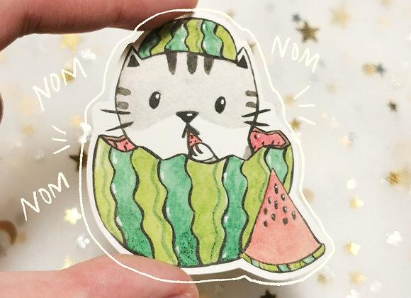 Watermelon Cat Sticker