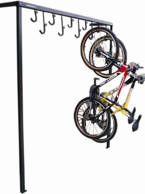 Bicicletário de parede com ganchos deslizantes