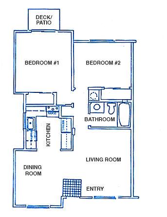 Surfspray floor plan, 2 bedrooms, 1 bathroom, 809 sq. ft.