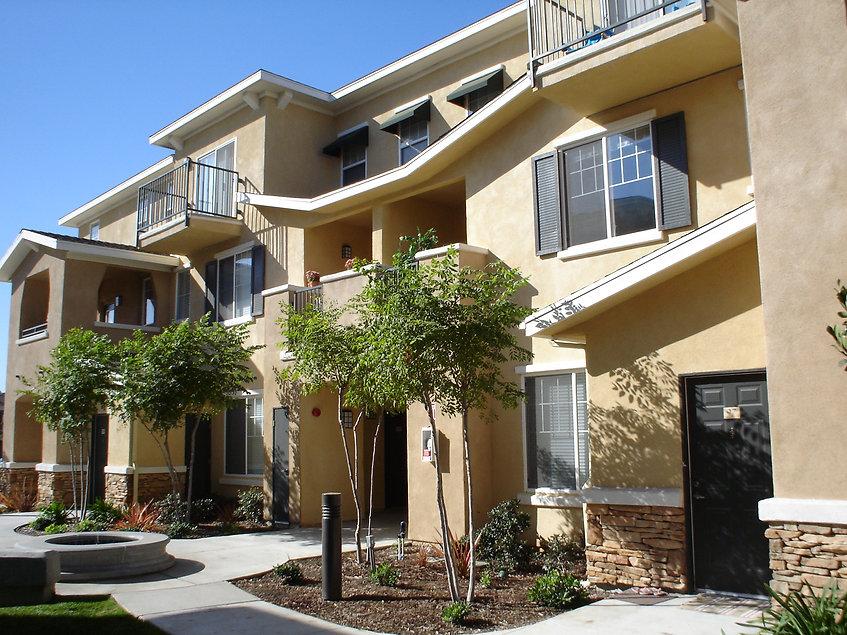exterior of apartment community