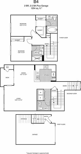 B4 Two Bedroom, two and a half bathrooms floorplan, 1,204 sq. ft., click to expand