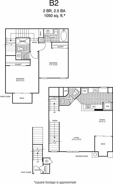 B2 Two Bedroom, two and a half bathrooms floorplan, 1,050 sq. ft. click to expand