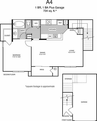 A4 One Bedroom, one bathroom floorplan, 734 sq. ft., click to expand