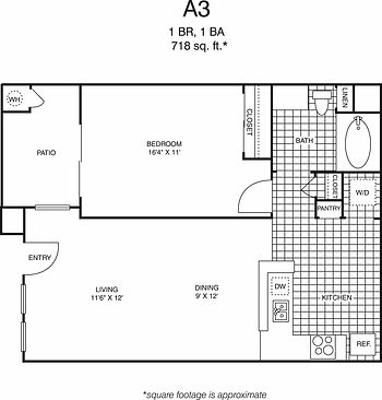 A3 One Bedroom, one bathroom floorplan, 718 sq. ft., click to expand