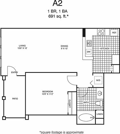 A2 One Bedroom, one bathroom floorplan, 691 sq. ft. click to expand