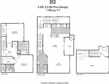 B3 Two Bedroom, two and a half bathrooms floorplan, 1,103 sq. ft., click to expand