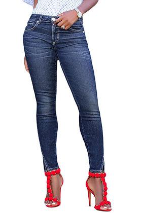 Blue Slit Front Skinny Jeans
