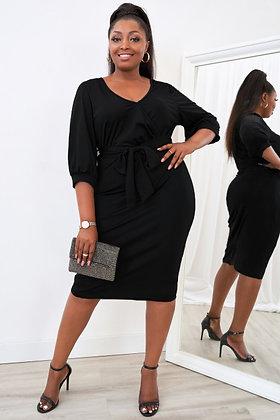 Black Cross Over V-Neck Midi Dress