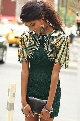 Emerald Green Sequin Detailed Sleeve Dress