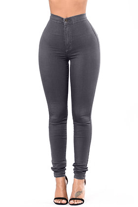 High Waist Skinny Jeans with Round Back Pockets-Grey