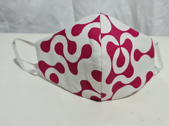 Pink Geometric on White Screen Print Face Mask