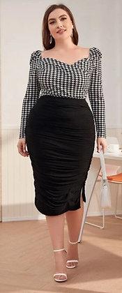 Ruched Side Split Midi Skirt