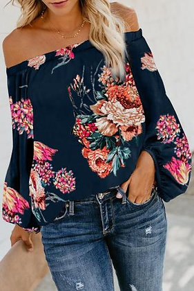 Blue Floral Lantern Sleeve off the Shoulder Top