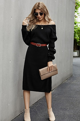 Black Ribbed Midi Sweater Dress