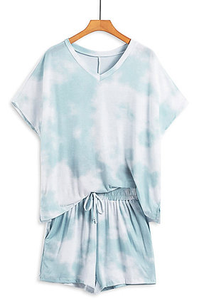 Pink & Blue  Dye Short Loungewear Knit Set