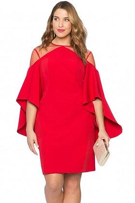 Mesh Illusion Cold Shoulder Dress-Red