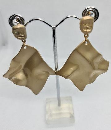 Gold Folded handkerchief Statement Earrings