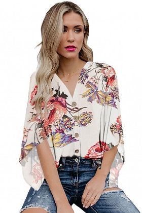 White V Neck Floral Kimono Top